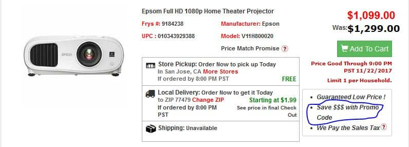 EPSON 3100  Full HD 1080p Home Theater Projector $949 @FRYS with daily coupon code, no tax, free pick up