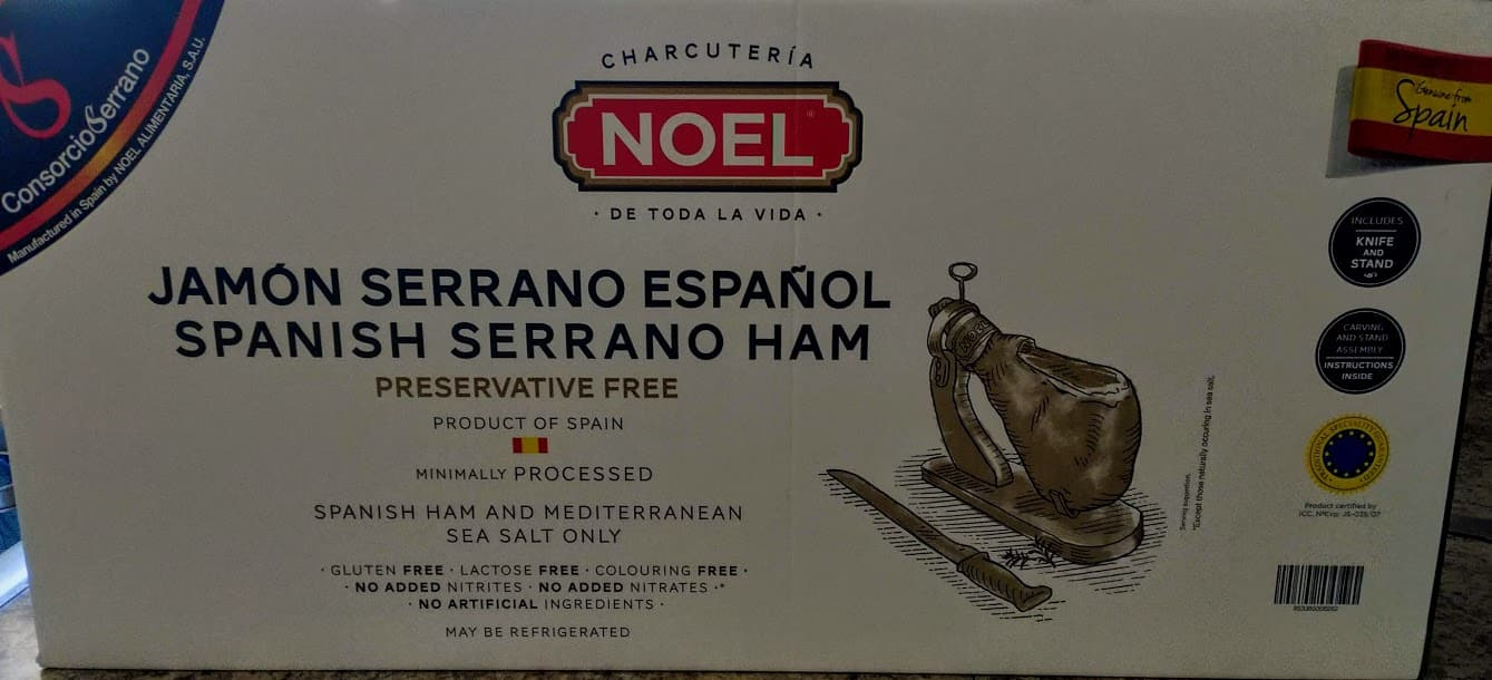 Noel Serrano Ham Bone in from Spain 14.7-17 lb + Ham Stand + Knife | Cured Spanish Jamon Made with Mediterranean Sea Salt $99 @ Costco B&M YMMV