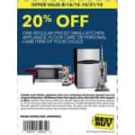 Printable & Online Best Buy Coupon: 20% Off Small Kitchen Appliance, Floor Care Or Personal Care Item (Valid until 10/31/2015)