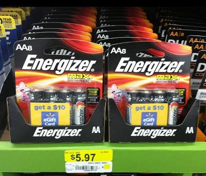 2 Free 8-Pk Energizer Batteries After Coupons &  $10 Walmart eGift Card (In-Store) @ Walmart