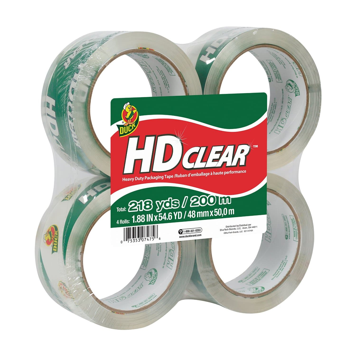4-Pack Duck Brand HD Clear High Performance Packaging Tape. $6.48 + Free Shipping @ Amazon