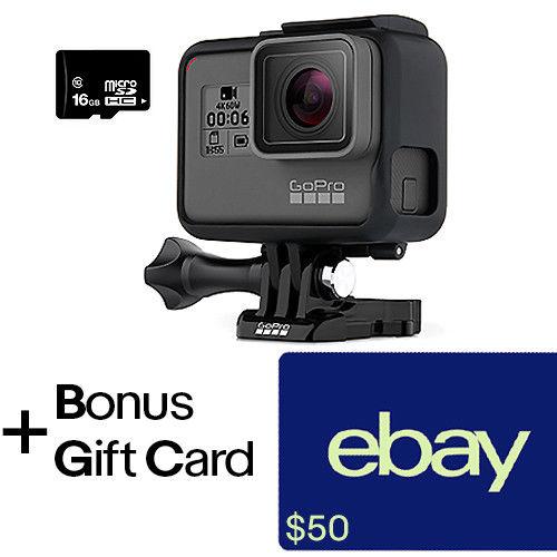 GoPro Hero6 Black + $50 eBay Gift Card + 16GB MicroSD Card. $449.99 + FS (eBay Daily Deal) $450