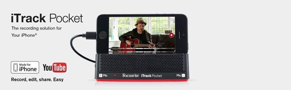 Focusrite iTrack Pocket Portable Stereo Microphone and Guitar Input for iPhone Video Creation and Sharing. $8 + FS w/Prime
