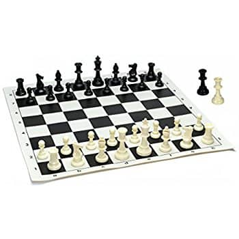 Best Value Tournament Chess Set - Filled Chess Pieces and Black Roll-Up Vinyl Chess Board. $9.97 + FS w/ Prime $8.97