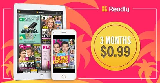 Readly Unlimited 3 Months Subscription for $0.99  (Over 3000 Magazines)