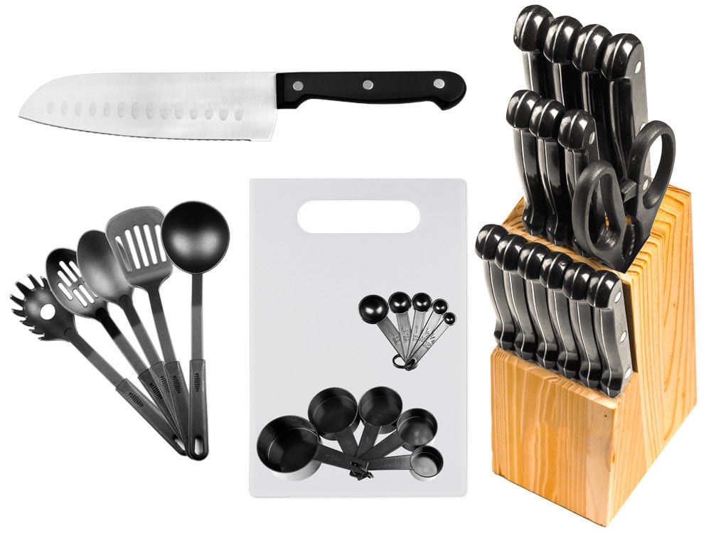 Set of 29  Stainless Steel Kitchen Knifes + Wood Block + Utensils + Cutting Board. $19.95 + FS (eBay Daily Deal)