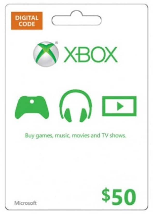 $50 Microsoft Gift Card (Xbox One/360) $46.99 Or Less