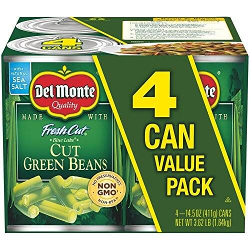 4-Pack Del Monte Canned Fresh Cut Blue Lake Green Beans, 14.5-Ounce. $2.28 at Amazon