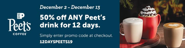 Specialty's: 50% Off Any Peet's Drink for 12 days (12/02 - 12/13)