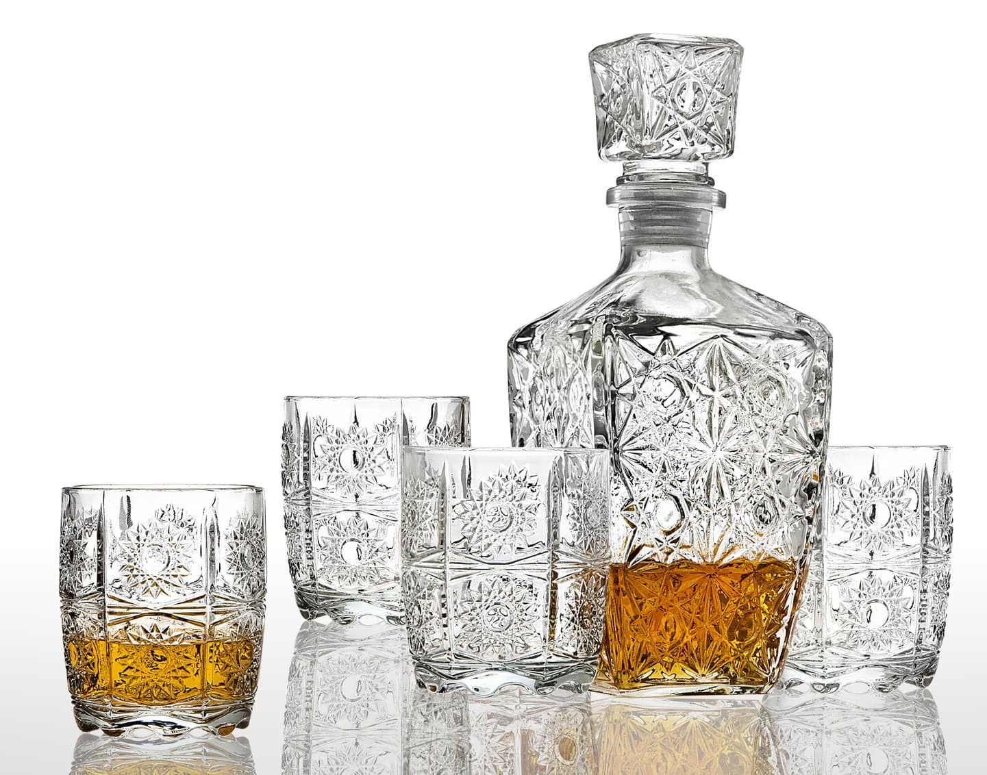 Studio Crystal Five Piece Whiskey Decanter and Glasses Set. $16.00, LE REGALO Five Piece Whiskey Decanter and Glasses Set. $14.29 @ Amazon