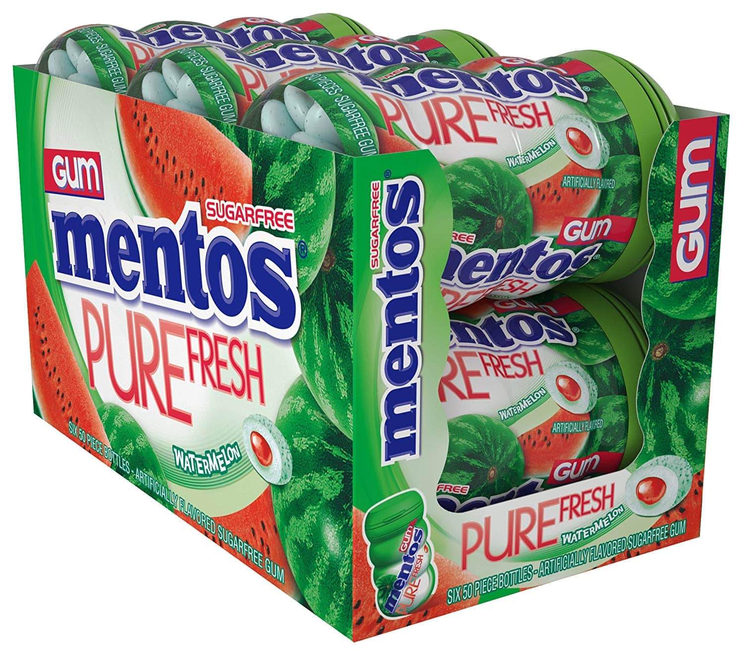 6-Pack 50 Piece Bottle Mentos Pure Fresh Sugar-Free Chewing Gum with Xylitol, Watermelon. $4.50 @ Amazon