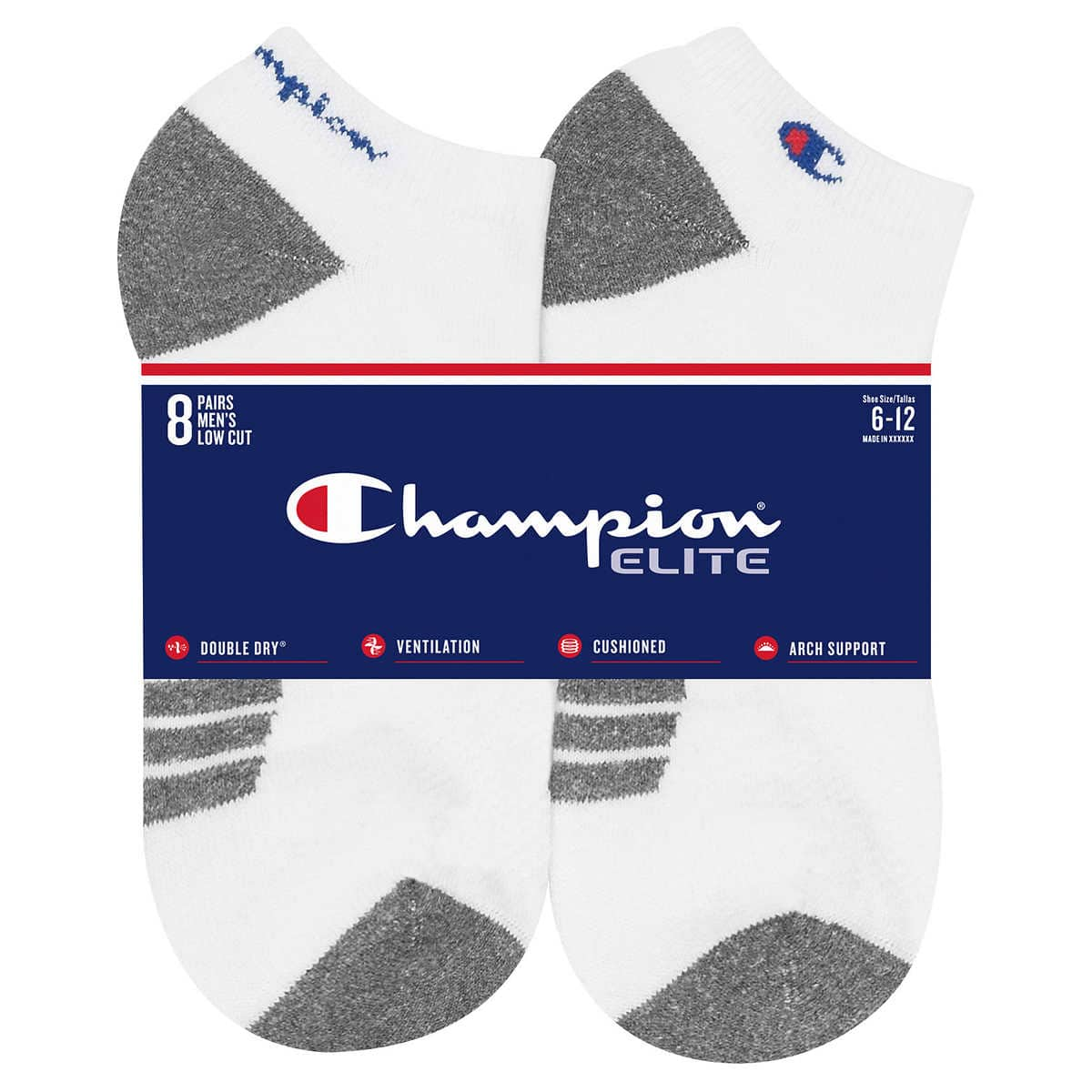 8-pair Champion Men's Low Cut Sock (Black or White) $10.99 + FS @ Costco