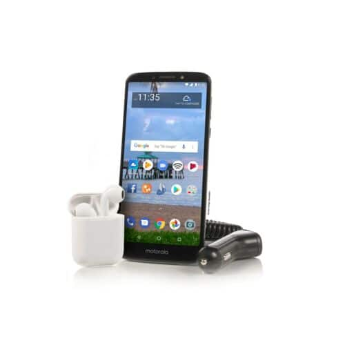 New Tracfone Moto e5 Cell Phone with 1 Year of Service with 1500 MIN/1500 Text/1500MB and choice of Bluetooth headset. $49.99 ebay