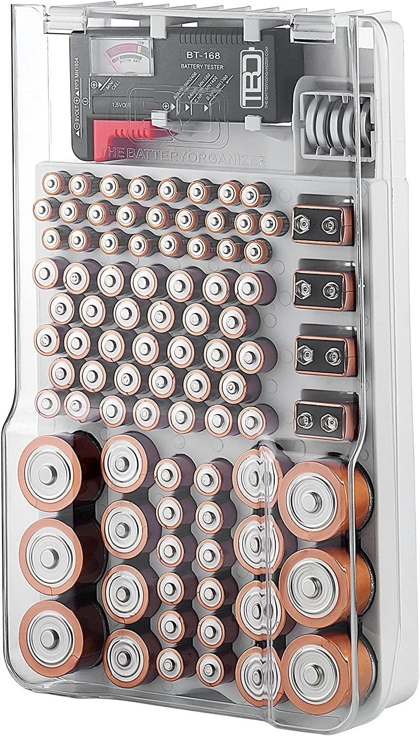 The Battery Organizer Storage Case with Hinged Clear Cover, Includes a Removable Battery Tester, Holds 93 Batteries Various Sizes. $12.99 @ Amazon