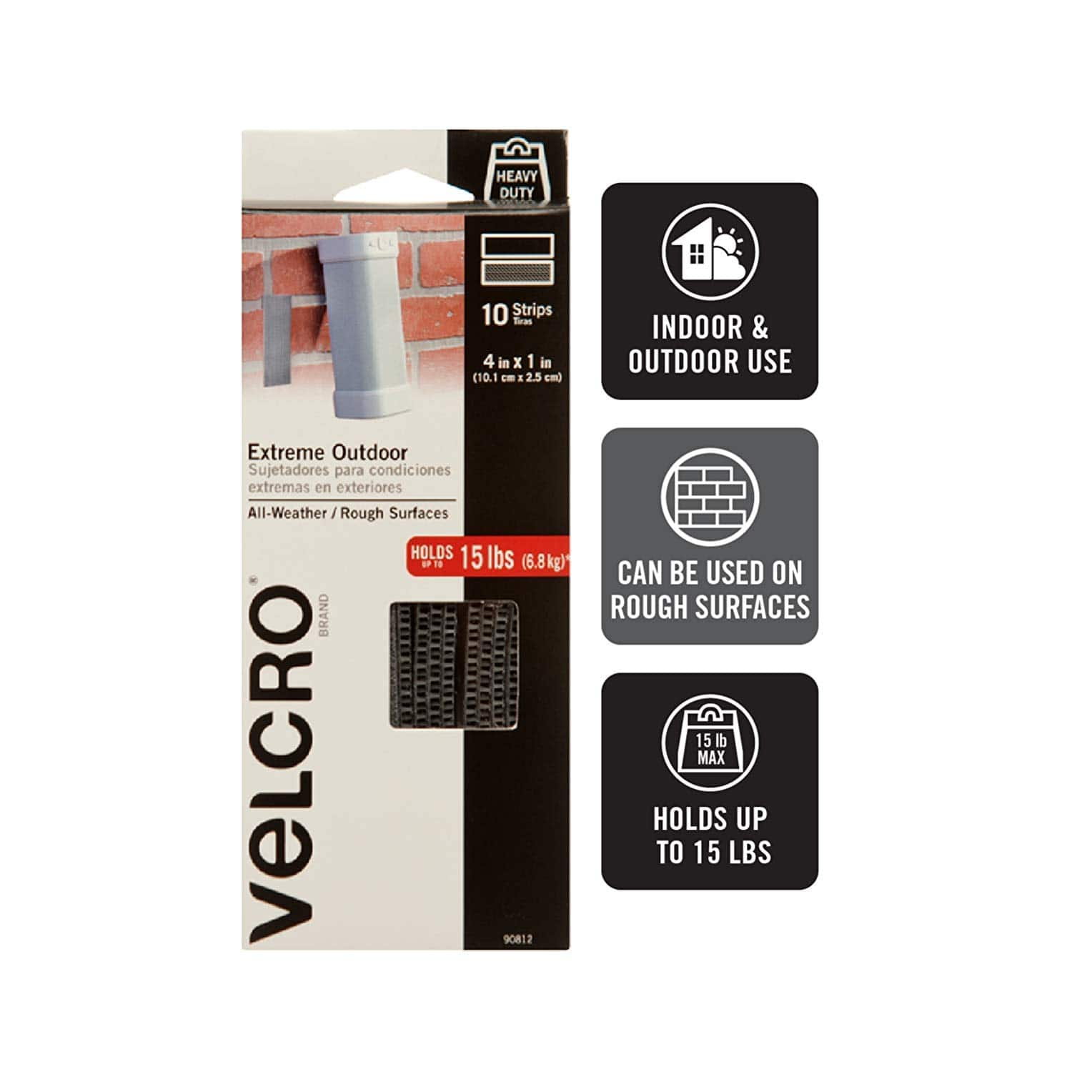 VELCRO Brand Industrial Fasteners Extreme Outdoor Weather Conditions | Professional Grade Heavy Duty Strength Holds up to 15 lbs on Rough Surfaces, 4in x 1in (10pk), Strips $4.28