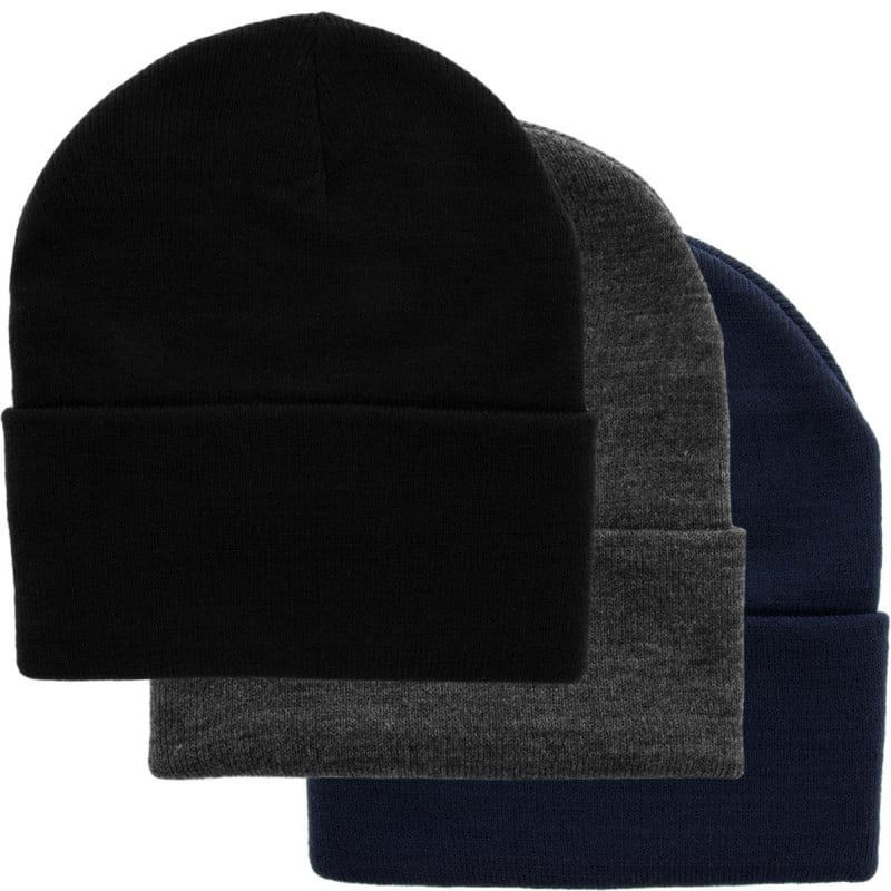 Set of 3 Men's Knitted Beanie Hats – Soft & Warm Acrylic For $6.99 + Free Shipping (with coupon code)