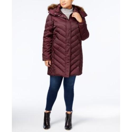 Kenneth Cole Faux-Fur-Trim Down Chevron Puffer Coat(Long jacket) $79.99