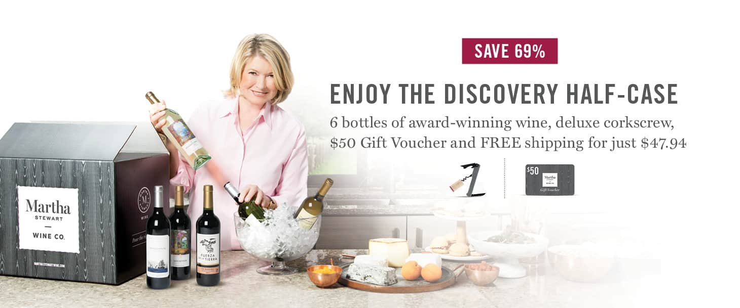 6 bottles of wine, deluxe corkscrew, and $50 gift voucher from Martha Stewart Wine with Amex Offer ($40 off of $50) for $10 YMMV