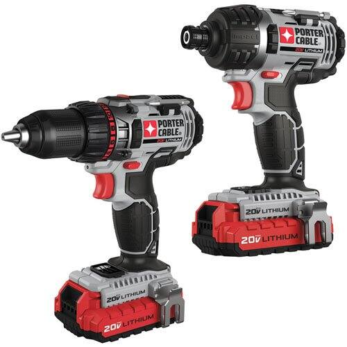 PORTER-CABLE PCCK602L2 20V MAX Lithium 2 Tool Combo Kit-Lithium Ion Drill and Lithium Ion Impact Driver on Amazon for $124.30