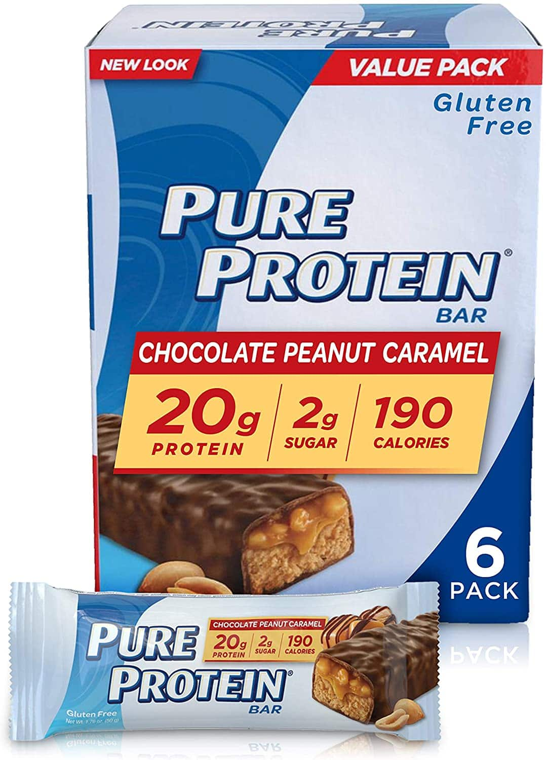 Pure Protein Bars, High Protein, Nutritious Snacks to Support Energy, Low Sugar, Gluten Free, Chocolate Peanut Caramel, 1.76oz, 6 Pack $4.61