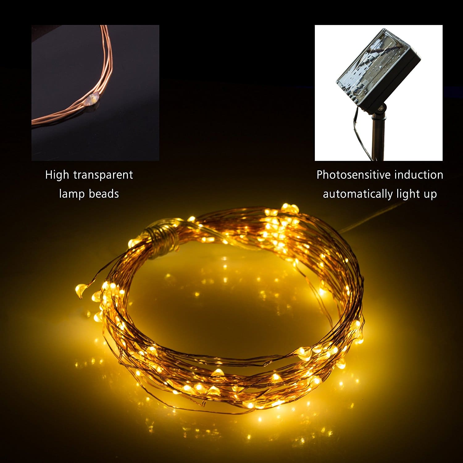 LED Solar String Lights – 39ft 8 Modes Bendable Solar Powered Copper Wire Starry Lights FS w/ Prime $7.00