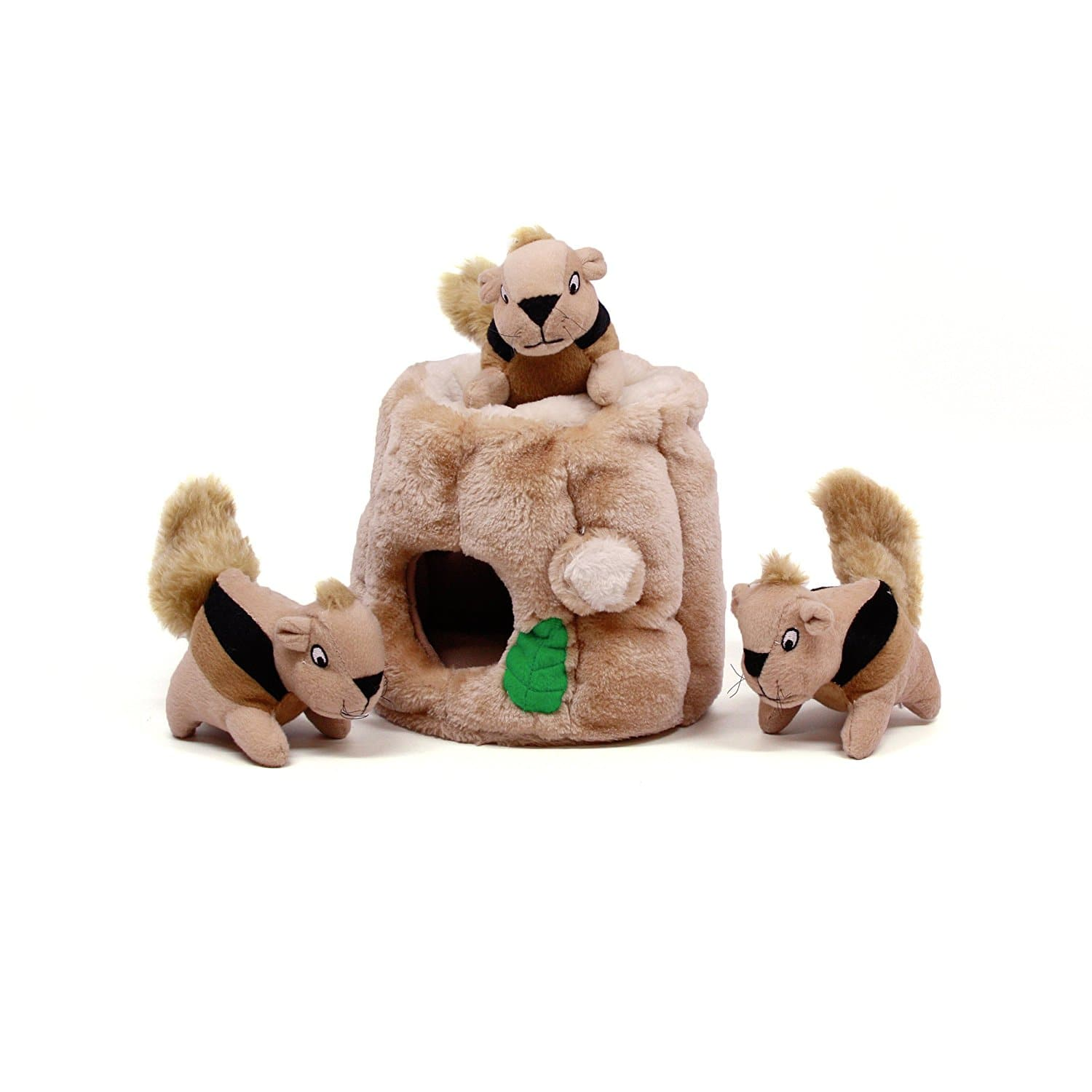Prime w/ Alexa Large 4-Piece Outward Hound Hide-A-Squirrel with Puzzle Plush Squeaking Dog Toys - $6.99