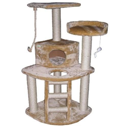 Go Pet Club Cat Tree Condo House, 32W x 25L x 47.5H Inches, Beige - $39.70 AC