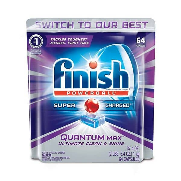 Finish Quantum Max Powerball, 64ct, Dishwasher Detergent Tablets, Ultimate Clean & Shine [Fresh Scent] $9.80