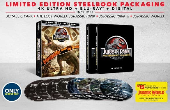 Jurassic Park: 25th Anniversary Collection [SteelBook] [4K Ultra HD Blu-ray] [Only @ Best Buy] - $54.99