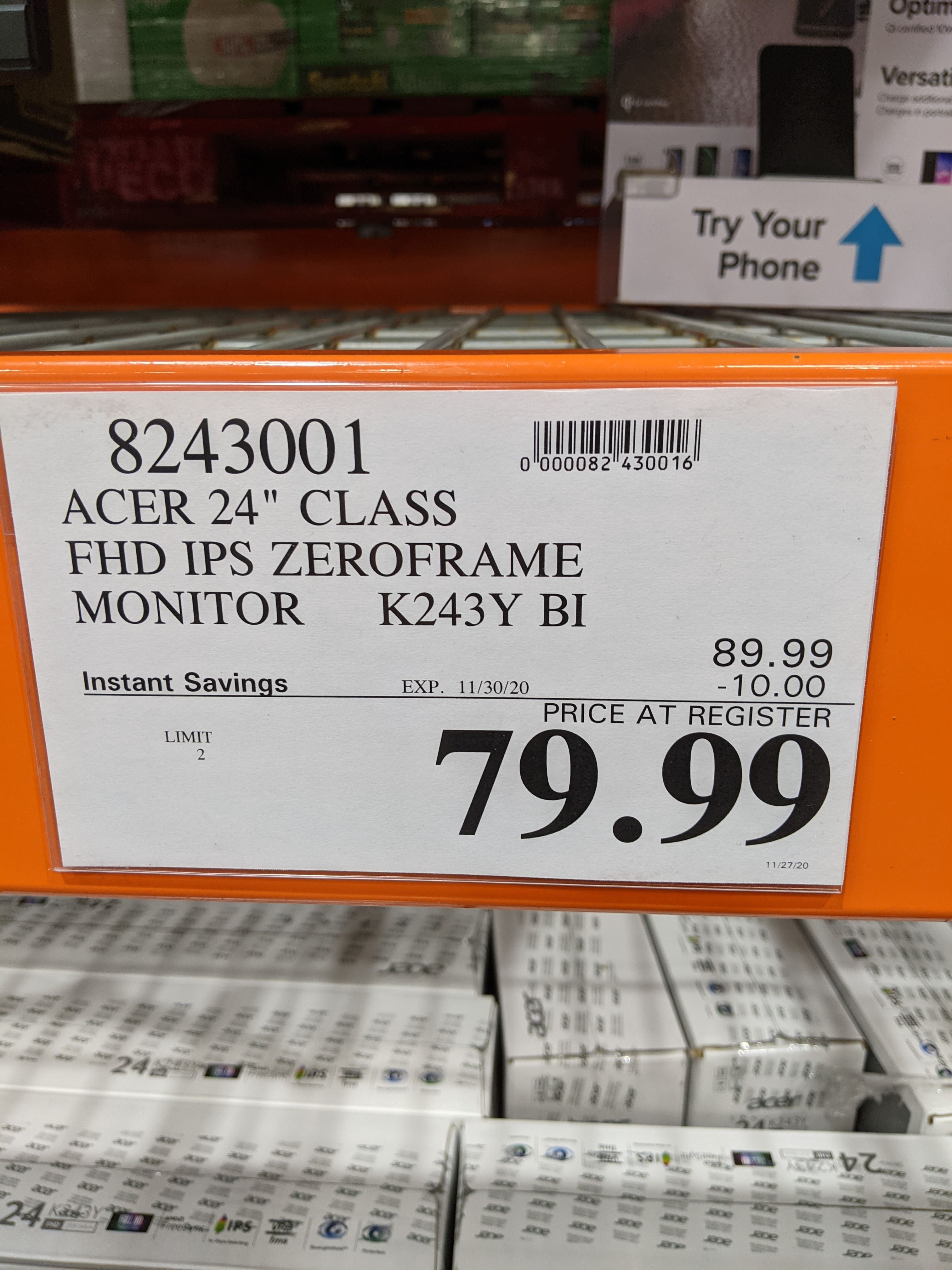 Acer 24 inch FHD IPS Monitor K3 Series K243Y BI - $79.99 at Costco Stores Only (YMMV)