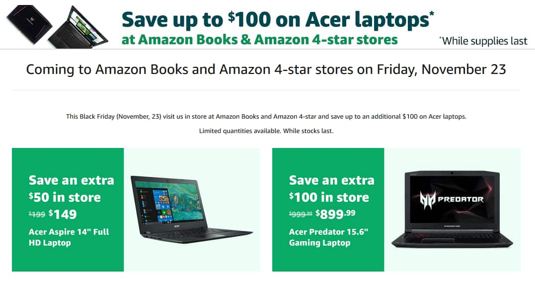 Extra Savings In Amazon Physical Stores For Laptops 149