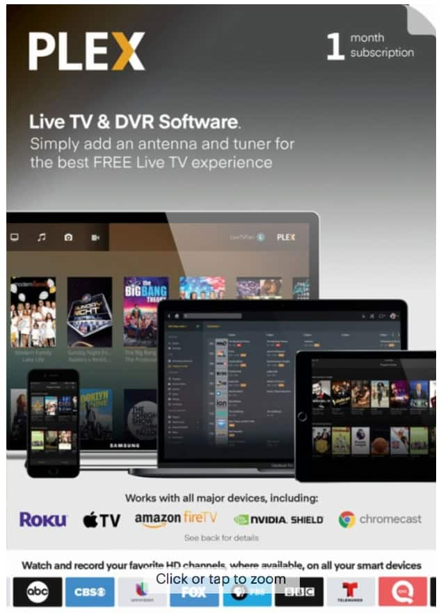 Plex - 1-Month Plex Live TV and DVR Software Access