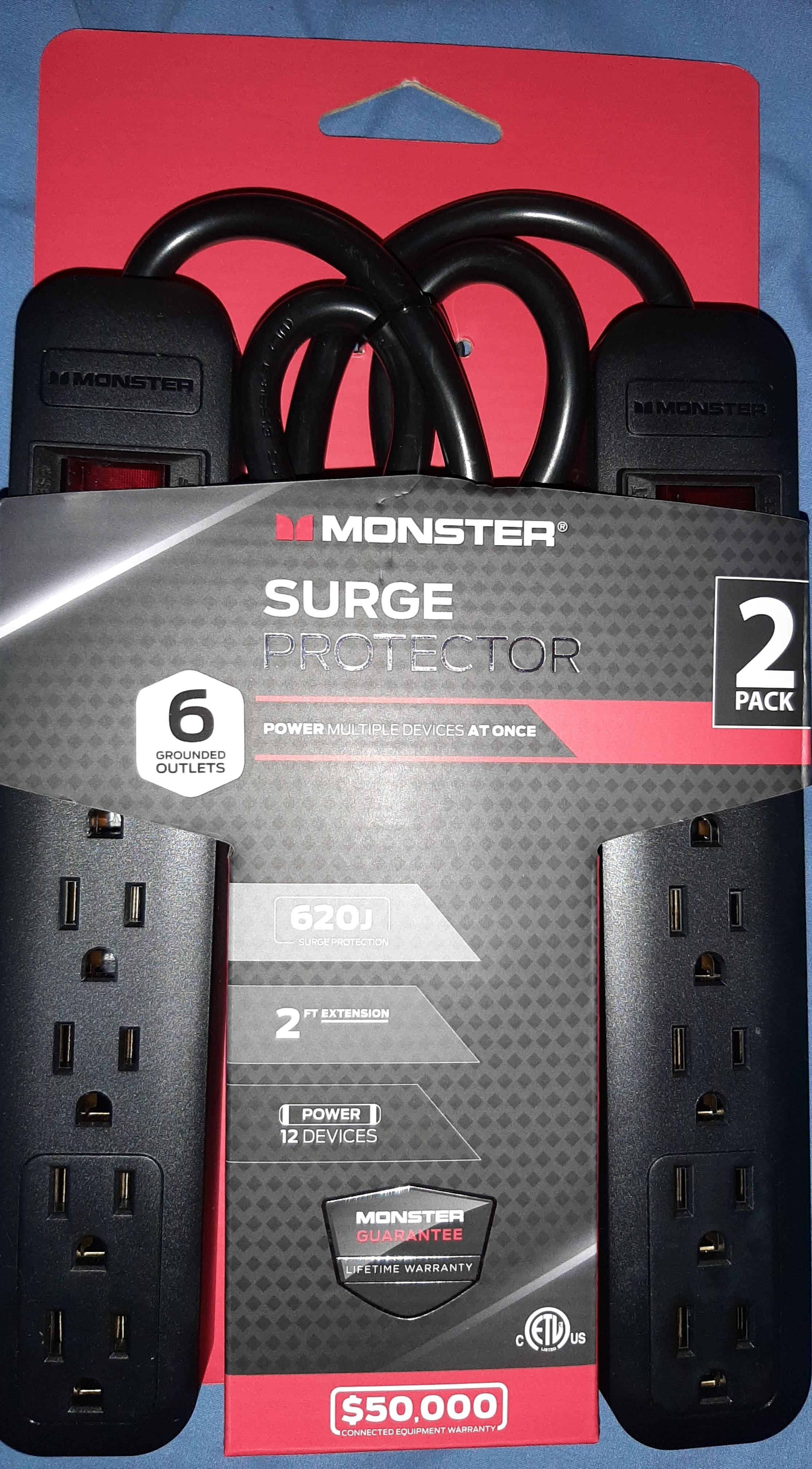 Two pack of six outlet Monster brand surge protectors - as low as $3 @ Walmart - IN STORE ONLY - YMMV