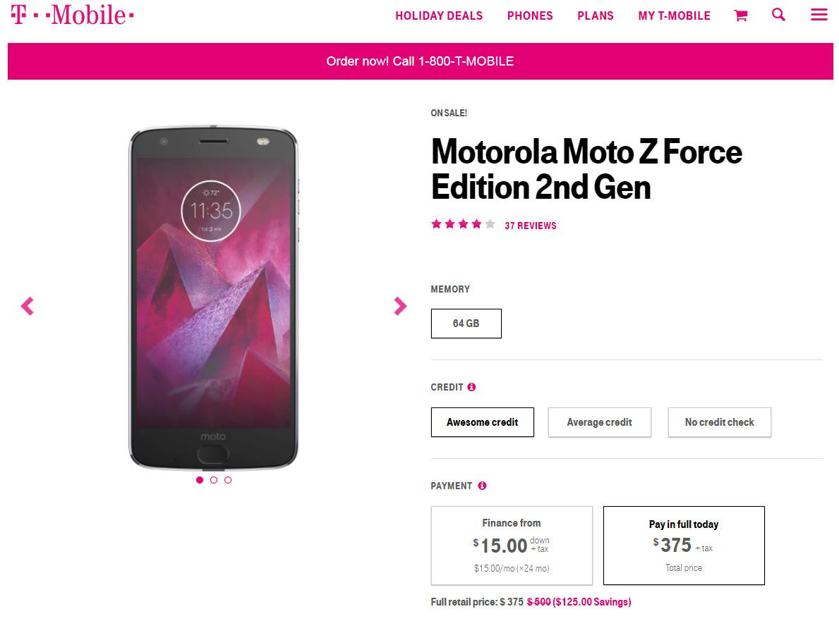 Motorola Moto Z2 Force - T-mobile $375