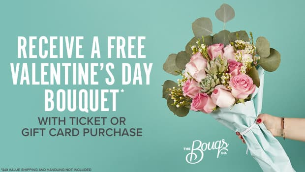 Receive a free Valentine's Day bouquet from The Bouqs ($15 Shipping and New Bouqs customers only) with ticket or gift card purchase from Fandango
