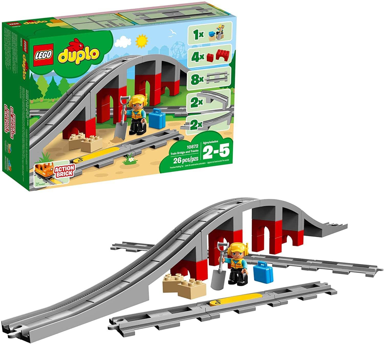 LEGO DUPLO Train Bridge and Tracks 10872 Building Blocks (26 Pieces) - $19.99