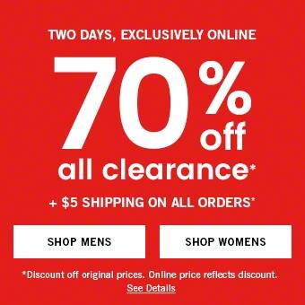 Abercrombie & Fitch 70% off all clearance + $5 shipping