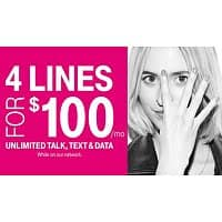 T-Mobile Deal: T-mobile offering 2.5GB/line for 4 lines for $100 total