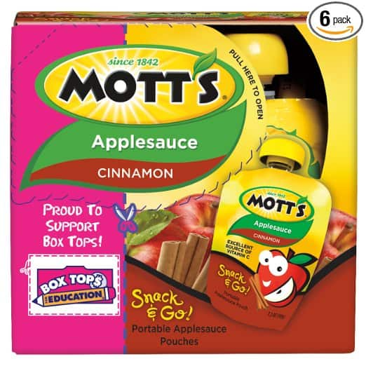 Mott's Snack & Go Cinnamon or Original Applesauce, 3.2 oz pouches (Pack of 24) @ Amazon $11.76 or as low as $10.52 After 15% S&S / $0.43 per pouch