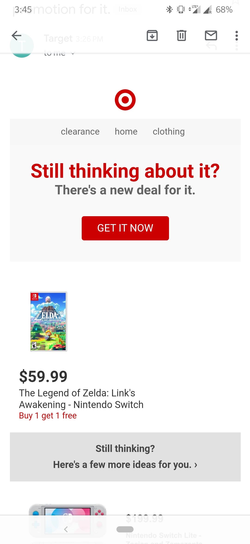 Legend of Zelda: Link's Awakening Target offer Buy 1 take 1 YMMV $60