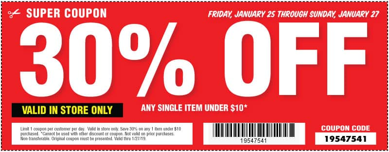 Harbor Freight Coupon Any Single Item Under 10 30 Off Valid