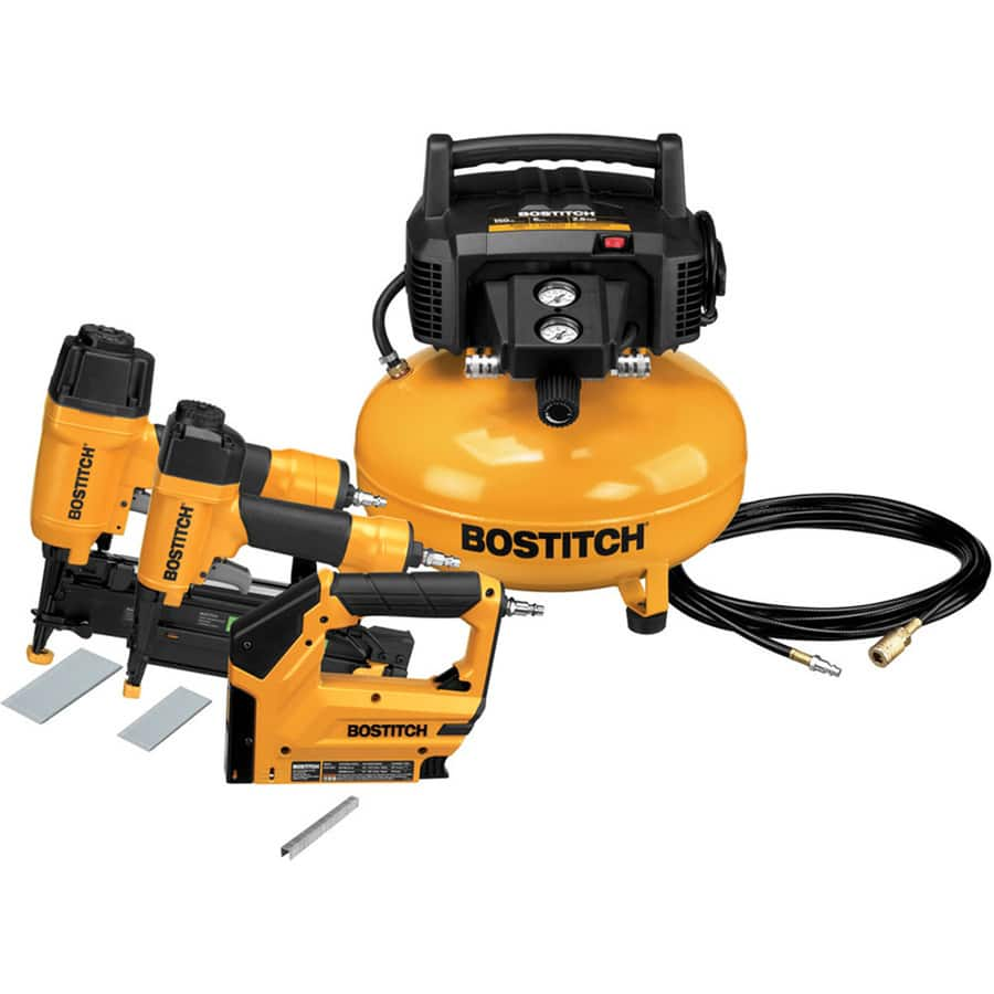 $160 Bostitch 6-Gallon Portable Electric Pancake Air Compressor (3 Tools Included)
