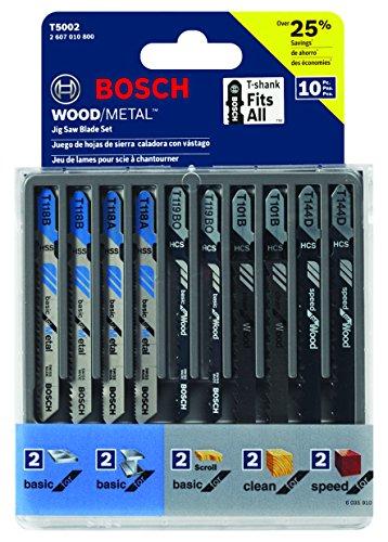 Bosch Jigsaw Blade Set:10-Piece Assorted T-Shank Jig Saw Blade Set T5002 [Assorted T-Shank Jig Saw Blade Set] $6.89