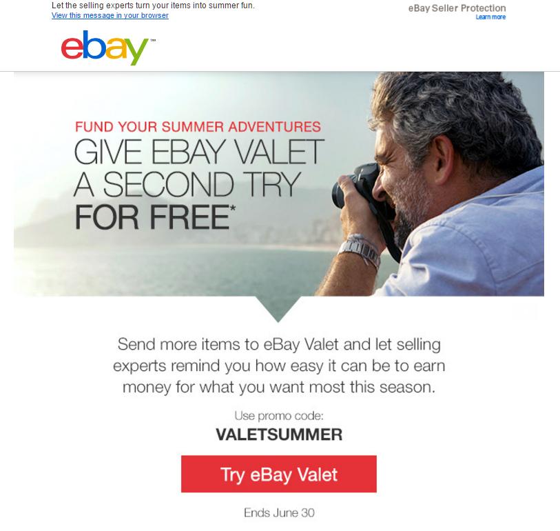 Free eBay Valet order - No selling fees - Exp June 30