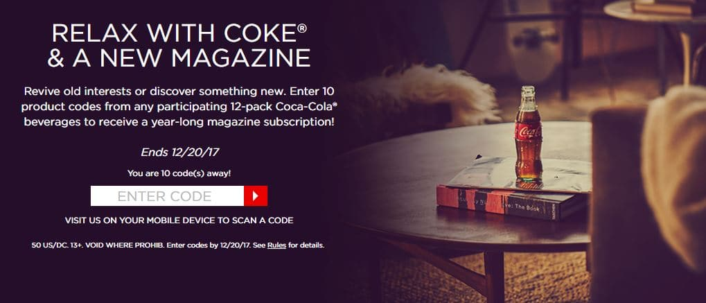 Enter 10 12pack codes get 1 year magazine subscription Coke Rewards Coca Cola Offer