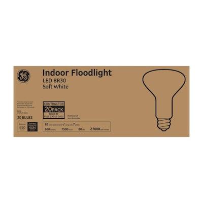 GE LED 65-Watt EQ LED Br30 Soft White Flood Light Light Bulb (20-Pack) in the Spot & Flood LED Light Bulbs department at Lowes.com $21.99
