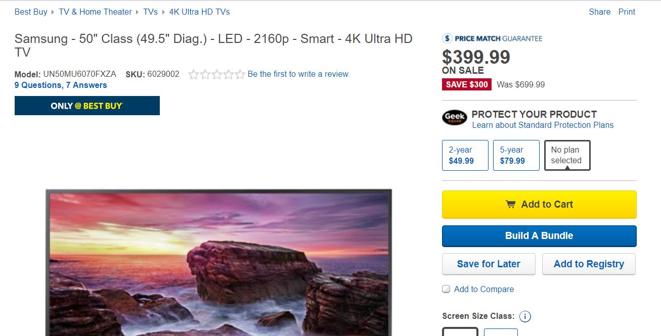 "Samsung 50"" TV 4K - $399"
