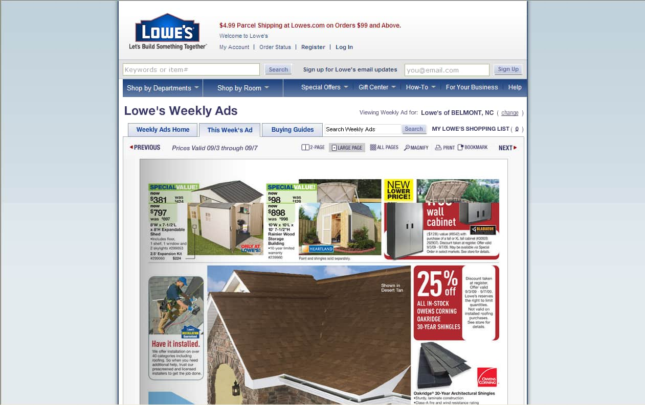 Lowes - 25% off Owens Corning Oakridge 30 year shingles 9-3 thru 9-7 (in stock only) B&M /YMMV