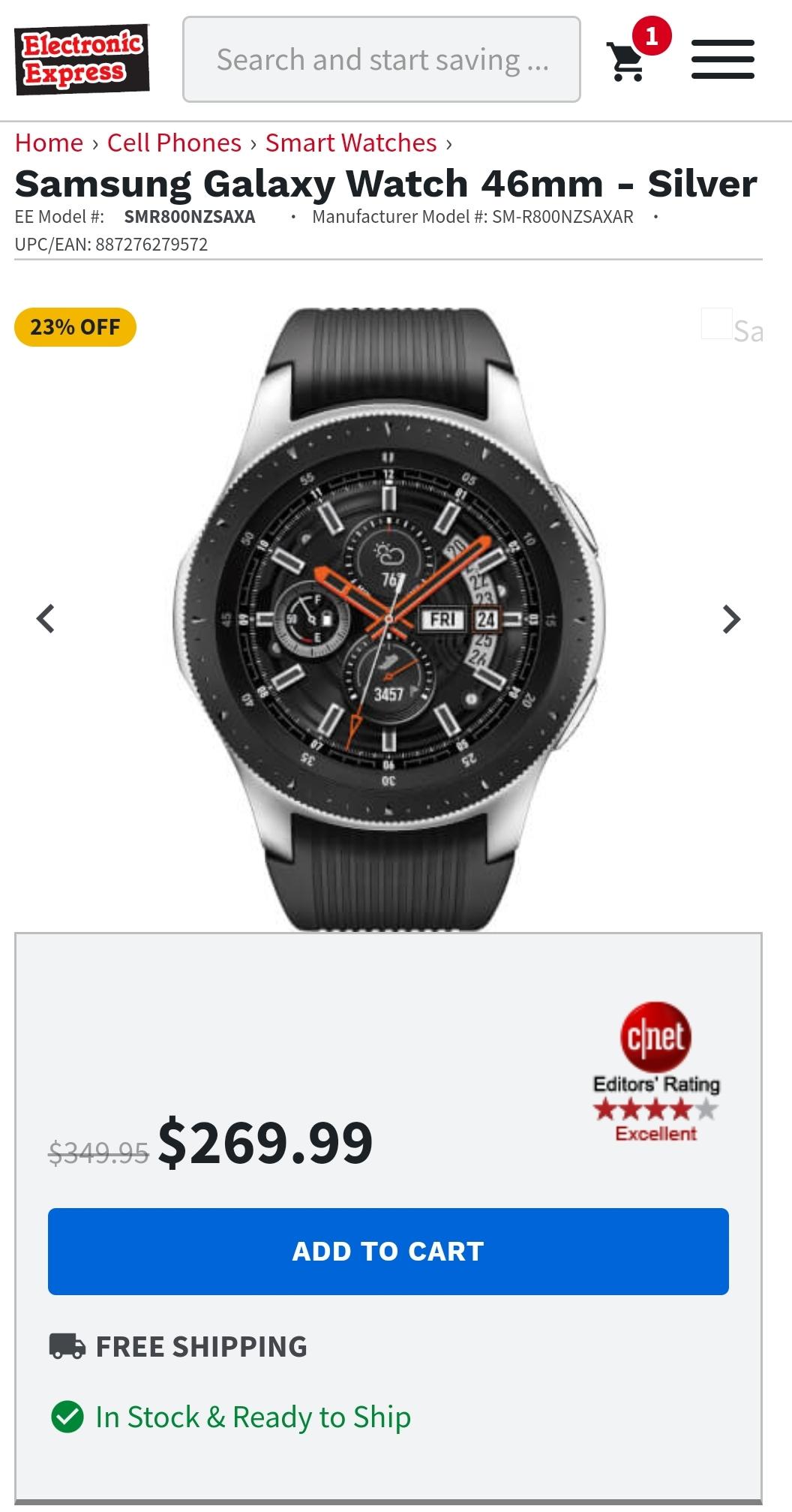 Samsung Galaxy Watch Smartwatch 46mm no tax $269.99