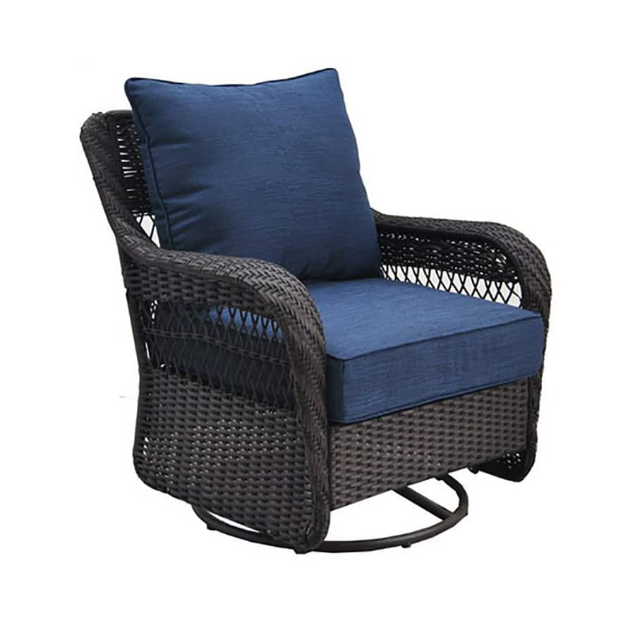 Lowe S Has Allen Roth Glenlee Brown Wicker Swivel Glider Patio Chair With Blue Cushion 100
